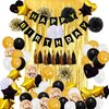 Urban Utility Black Gold White Balloon Birthday Party Decorations 80pcs Include 2pcs 3x8 ft Foil Fringe Door Curtains Gold confetti balloons with Metallic fringes