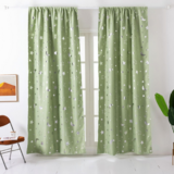 Deals For Less - Window Curtains Green Color, Stars & Moon Foil Design.
