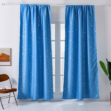 Deals For Less - Window Curtains Light Blue Color, Stars Foil Design.