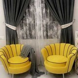 Pair Of Two Classcial Flower Chair,Yellow Color,Black Stips,Silver Legs