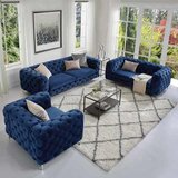 Simple Velvet Fabric Sofa, The Body Of The Sofa Is Botton Tufted Sofa For Living Room (Blue)