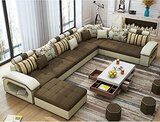 Upholstered Modern Couch U Shaped Fabric Living Room Furniture Chaise Lounge Recliner Sectional L Shape Corner Sofa Sets (Charcole)
