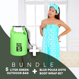 BUNDLE OFFER:  Blue Polka DotsSuper Absorbent Wrap Body Towel, with lady Headband set Design + 5 Liter Ocean Pack Waterproof Dry Bag Outdoor