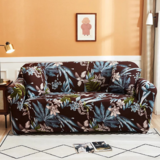 DEALS FOR LESS - 4 Seater Sofa Cover, Stretchable Couch Slipcover,  Leaves Design.