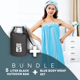 BUNDLE OFFER:  Blue Super Absorbent Wrap Body Towel, with lady Headband set Design + 5 Liter Ocean Pack Waterproof Dry Bag Outdoor