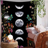 Deals For Less - Wall Tapestry Home Decor, Moon With Flowers Design.
