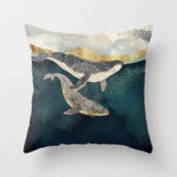 Deals For Less - Swimming Whales Design Cushion Cover.