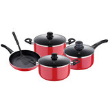 Royalford RF7923 8 Pcs Non-stick Cookware Set - Comfortable Heat Resistant Handles Scratch Resistant, Tempered Glass Lids, Thick Body, Bakelite Knobs, and CD Bottom   Perfect for All Cooking Tasks  Compatible with Multiple Hobs like Gas, Electric, Ceramic