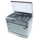 Geepas 90*60 Cm Cooking Range - 5 Gas Euro Pool Type Burners Cooling Fan Single Oven, Heavy Duty Metal Knobs Oven/Grill Function Glass Lid | Perfect for Cook, Bake & Grill