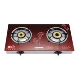 Geepas 2-Burner Gas Hob - Size 70 mm & 90 mm Attractive Design, Gas Range 2-Burner Stove Cooktop, Auto Ignition, Outdoor Grill, Camping Stoves| Stainless Steel Body | Compatible for Gas | 2 Years Warranty