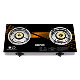 Geepas 2-Burner Gas Hob - Size 70 mm & 90 mm - Attractive Design, 8mm Tempered Glass Worktop - Automatic Ignition, 2 Heating Zones 4.5Kw| Stainless Steel Frame | 2 Years Warranty