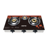 Geepas GGC31012 3-Burner Gas Cooker Size 70mm, 40mm & 90mm Respectively - Ergonomic Design, Automatic Ignition, 3 Heating Zones | Stainless Steel Frame & Tray | 2 Years Warranty