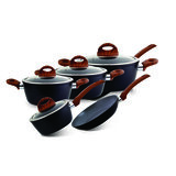 Royalford RF8904 5Pc Aluminium Casserole Cookware Set with Glass Lids - Induction safe Pots & Pans with Non-Stick Marble Coating - Stock Pots with Tempered Glass Lid & Strong Wooden Handles