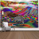 Deals For Less - Wall Tapestry Home Decor, Colorful With Zebra Design.