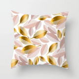 Deals For Less - Gold & Rose Gold Leaves Design Cushion Cover.