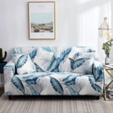 Deals For Less - Strechable Sofa Cover, One Seater, Blue Leaves Design.