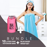 BUNDLE OFFER:  BLUE Super Absorbent Wrap Body Towel, with lady Headband set Design +Pink 10Liter Ocean Pack Waterproof Dry Bag Outdoor