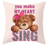 DEALS FOR LESS - 1 Piece Cute Bear with Ribbon Design, Decorative Cushion Cover.