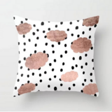 Deals For Less - Polka Dots With Rose Gold Clouds Design Cushion Cover.