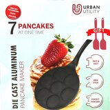 Urabn Utility Pancake Pan Maker Nonstick-Suitable for All Stovetops, 10.5 Inch Grill Blini Griddle Crepe Pan, 7 Molds Cake Egg Cooker 100% PFOA Free Non Stick Coating, Comes With 2 Spatulas