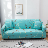 DEALS FOR LESS - 1 Seater Sofa Cover, Stretchable Couch Slipcover, Blue Marble Design.