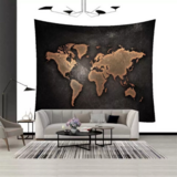Deals For Less - Wall Tapestry Home Decor, Black With Map Design.