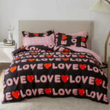 DEALS FOR LESS - Single Size, Duvet Cover, Bedding Set of 4 Pieces, Black with love Design, 1 Duvet cover + 1 Fitted bedsheet + 2 pillow covers