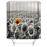 Deals For Less -Privacy Waterproof Shower Curtain For Bathroom And Bath Tab Decor Black & White Sunflower Design.