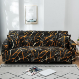 DEALS FOR LESS - 4 Seater Sofa Cover, Stretchable Couch Slipcover, Black Marble Design