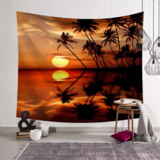 Deals For Less - Wall Tapestry Home Decor, Sunset & Palm Tree Design.