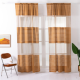 Deals For Less - Modern  Striped Tulle,  Window Sheer Curtains Set Of 2 Pieces, Gold Color.