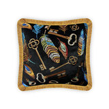 Vellato Black Velvet Cushion Cover, Feather and Key Embroidery Modern Style Decorative Pillow, Home Decor Wysada,  45 x 45 CM