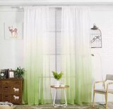 Deals For Less - Green Color Ombre Sheer, Set Of 2 Pieces.