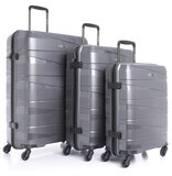 PARA JOHN Travel Luggage Suitcase Set of 3 - Trolley Bag, Carry On Hand Cabin Luggage Bag 20'', ,24'', 28'' Grey