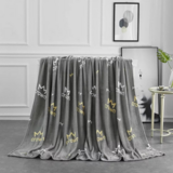Deals For Less - Soft Fleece Blanket, Double Size, Grey With Crown Design.