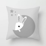 DEALS FOR LESS - 1 Piece Grey Rabbit & Moon Design, Decorative Cushion Cover.