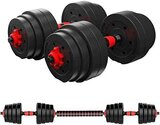 Marshal Fitness 20 kgs Adjustable Fitness Cement Dumbbells Set with Connecting Rod Used as Barbells MF-0506-20Kgs