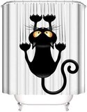 DEALS FOR LESS - Shower Curtain With 12 Hooks , Cat Design