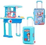 2 in 1 Kids Pretend Doctor Play Set Carry Medical Suitcase w/ Medical Table , Medical Tools & Accessories
