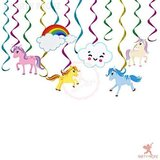 Brain Giggles 12 Pcs Unicorn Theme Birthday Decorations Swirls