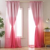 Deals For Less - Pink Ombre Design, Curtains Window Decor, Set Of 2 Pieces.F 2 Pieces.