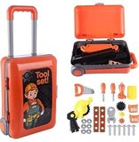 2 in 1 Deluxe Tool Kit Play Set, Pretend Play Luggage Tool Kit For Kids w/ Suitcase Trolley (For Ages 3+)