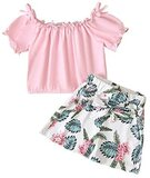 FLORAL SKIRT TYPE SHORTS WITH PINK TOP FOR BABY GIRLS (5 YEARS)