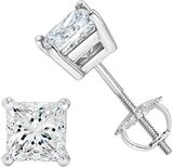 NYC Sterling Unisex Princess Cubic Zirconia Screw Back Stud Earring 3 to 8 MM (5MM)