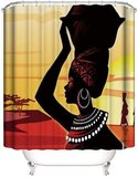 DEALS FOR LESS - Shower Curtain With 12 Hooks , African lady Design