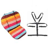 Twoworld Baby High Chair Seat Cushion Liner Mat Pad Cover Rainbow Striped Water Resistant And High Chair Straps (5 Point Harness) 1 Suit