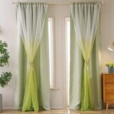 Deals For Less - Window Curtains, Green Ombre Design, Double Layer Set Of 2 Pieces.