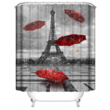 DEALS FOR LESS -Privacy Waterproof Shower curtain for Bathroom and Bath tab decor Paris with Red Umbrella Design.