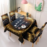 DEALS FOR LESS - Christmas Table Cloth with 4 Pieces Chair Covers, Santa  with Reindeer Design.