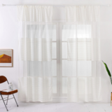 Deals For Less - Modern  Striped Tulle,  Window Sheer Curtains Set Of 2 Pieces, Milky White Color.
